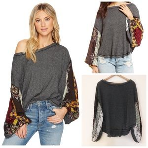 Free People Blossom Balloon Sleeve Thermal Top